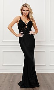 Image of sparkly formal black strappy-back long prom dress. Style: NA-21-E451 Detail Image 1