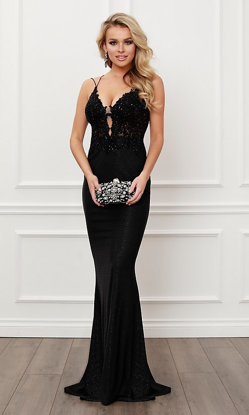 Image of sparkly formal black strappy-back long prom dress. Style: NA-21-E451 Front Image