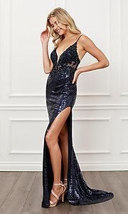 Image of navy blue long sequin formal sparkly prom dress. Style: NA-21-E452 Detail Image 1
