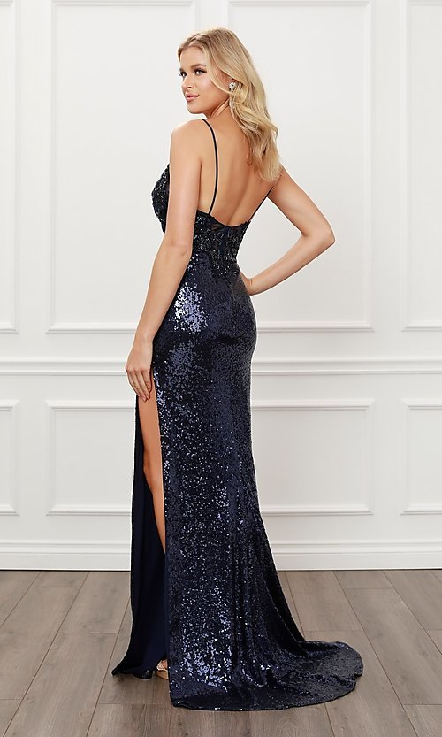 Image of navy blue long sequin formal sparkly prom dress. Style: NA-21-E452 Back Image