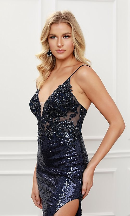 Image of navy blue long sequin formal sparkly prom dress. Style: NA-21-E452 Detail Image 2