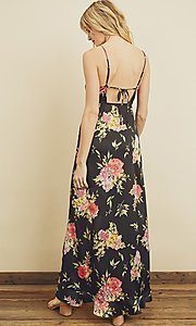 Image of high-low floral print ruffle-trim maxi dress. Style: LAS-DRE-21-FD4401 Back Image