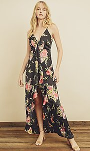 Image of high-low floral print ruffle-trim maxi dress. Style: LAS-DRE-21-FD4401 Front Image