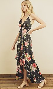 Image of high-low floral print ruffle-trim maxi dress. Style: LAS-DRE-21-FD4401 Detail Image 3