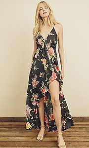 Image of high-low floral print ruffle-trim maxi dress. Style: LAS-DRE-21-FD4401 Detail Image 1