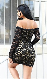Image of lace off-shoulder long sleeve short party dress. Style: LAS-CIE-21-TD3727 Detail Image 5