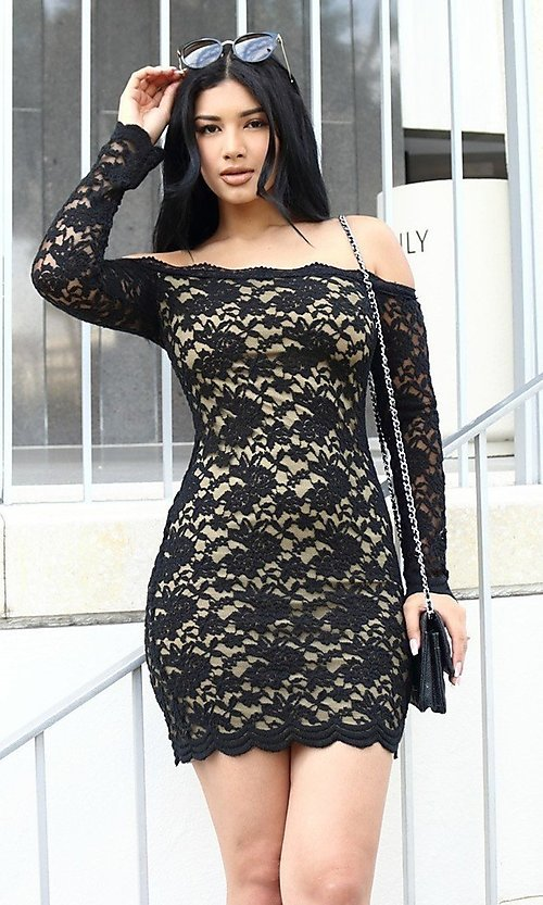 Image of lace off-shoulder long sleeve short party dress. Style: LAS-CIE-21-TD3727 Detail Image 4