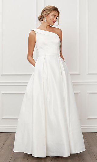 White One-Shoulder Long Ball Gown for Prom 2021