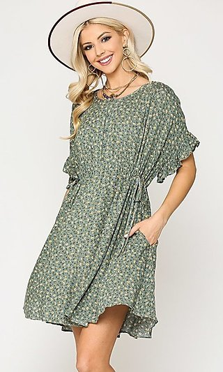 Short Sleeve Print Casual Dress with Pockets