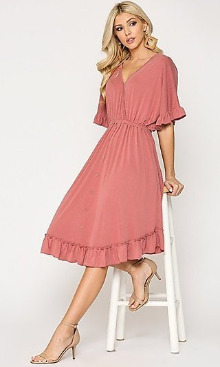 Casual Knee-Length Ruffle-Hem Wedding Guest Dress