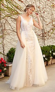 Image of white and nude lace formal dress with tulle. Style: NA-21-E474 Front Image