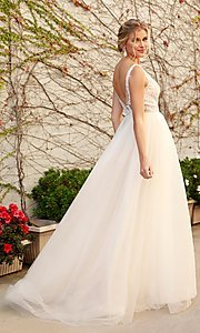 Image of white and nude lace formal dress with tulle. Style: NA-21-E474 Back Image