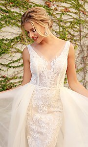Image of white and nude lace formal dress with tulle. Style: NA-21-E474 Detail Image 1