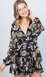 Image of black floral print long sleeve short party romper. Style: LAS-ILL-21-IM5000Q Front Image