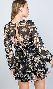 Image of black floral print long sleeve short party romper. Style: LAS-ILL-21-IM5000Q Back Image