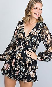 Image of black floral print long sleeve short party romper. Style: LAS-ILL-21-IM5000Q Detail Image 2