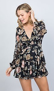 Image of black floral print long sleeve short party romper. Style: LAS-ILL-21-IM5000Q Detail Image 3