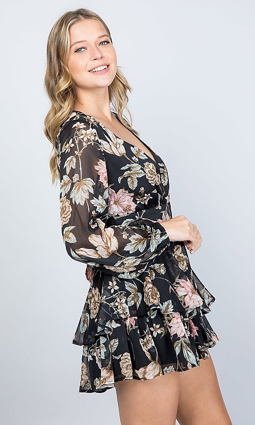Image of black floral print long sleeve short party romper. Style: LAS-ILL-21-IM5000Q Detail Image 1