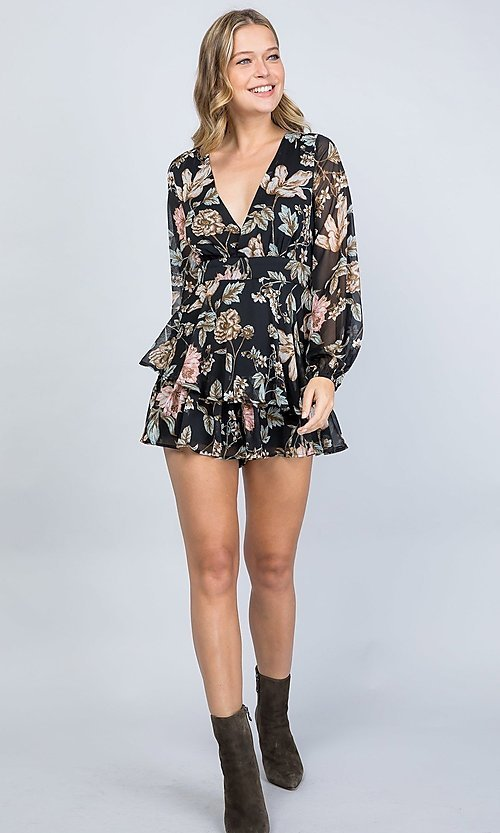 Image of black floral print long sleeve short party romper. Style: LAS-ILL-21-IM5000Q Detail Image 4