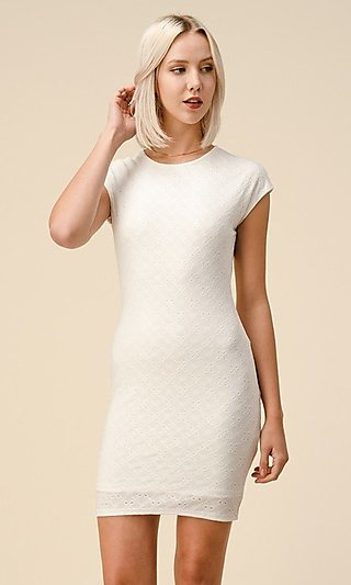 Eyelet Jacquard Short Casual Cap Sleeve Sheath Dress