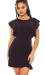 Image of ruffle sleeve short tulip-hem party dress. Style: LAS-SY-21-ID7883CP Detail Image 1