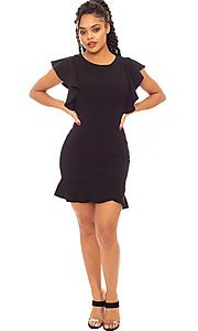 Image of ruffle sleeve short tulip-hem party dress. Style: LAS-SY-21-ID7883CP Detail Image 2