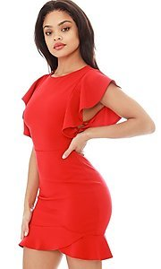 Image of ruffle sleeve short tulip-hem party dress. Style: LAS-SY-21-ID7883CP Detail Image 4