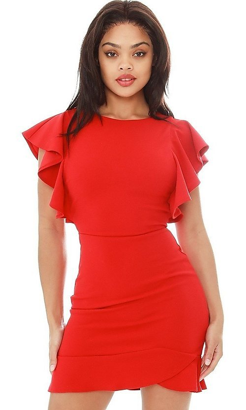 Image of ruffle sleeve short tulip-hem party dress. Style: LAS-SY-21-ID7883CP Detail Image 3