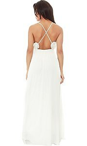 Image of open-back long casual dress with ruffled v-neck. Style: LAS-SY-21-IDM7872EP Back Image