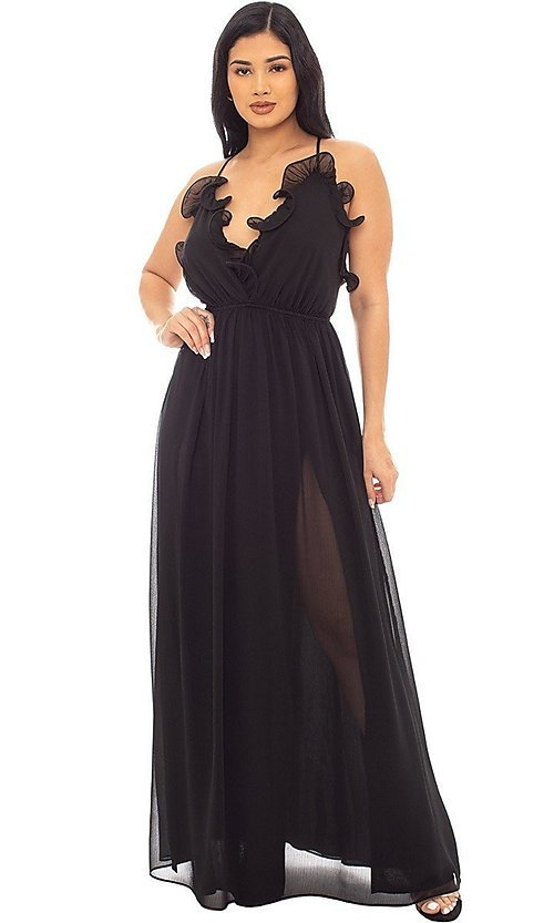 Image of open-back long casual dress with ruffled v-neck. Style: LAS-SY-21-IDM7872EP Detail Image 2