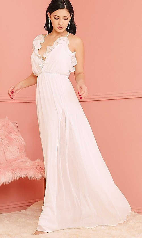 Image of open-back long casual dress with ruffled v-neck. Style: LAS-SY-21-IDM7872EP Front Image