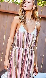 Image of sequin vertical striped v-neck short party dress. Style: LAS-MST-21-LD51318 Detail Image 1
