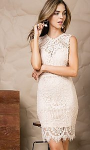 Image of semi-formal crocheted lace short party dress. Style: LAS-MST-21-LD5346 Detail Image 2
