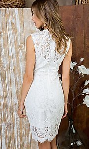 Image of semi-formal crocheted lace short party dress. Style: LAS-MST-21-LD5346 Back Image