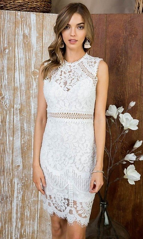 Image of semi-formal crocheted lace short party dress. Style: LAS-MST-21-LD5346 Front Image
