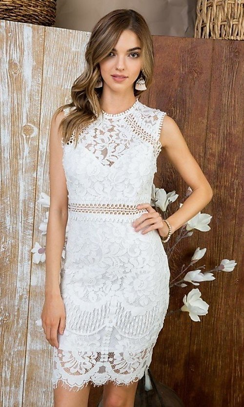Image of semi-formal crocheted lace short party dress. Style: LAS-MST-21-LD5346 Detail Image 1