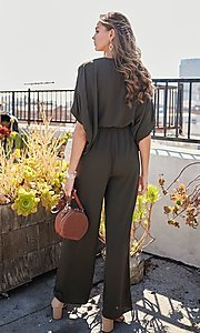 Image of wide-sleeve v-neck casual party jumpsuit. Style: LAS-MST-21-LR70764 Back Image