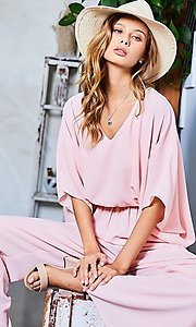 Image of wide-sleeve v-neck casual party jumpsuit. Style: LAS-MST-21-LR70764 Detail Image 1