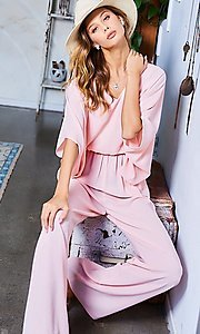 Image of wide-sleeve v-neck casual party jumpsuit. Style: LAS-MST-21-LR70764 Detail Image 2