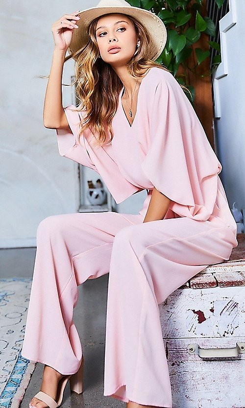 Image of wide-sleeve v-neck casual party jumpsuit. Style: LAS-MST-21-LR70764 Front Image