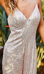 Image of formal sequin pink champagne jumpsuit for prom. Style: LAS-MST-21-LR70808 Detail Image 5