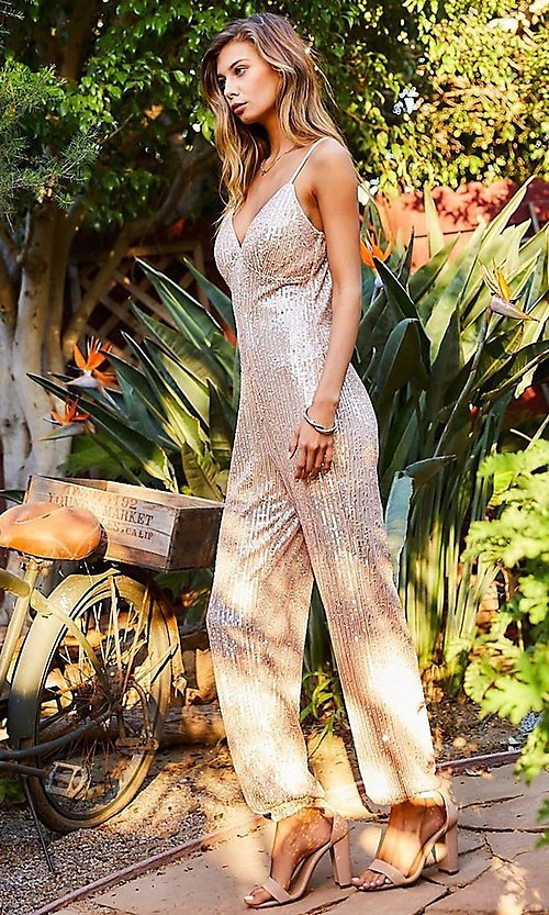 Image of formal sequin pink champagne jumpsuit for prom. Style: LAS-MST-21-LR70808 Front Image