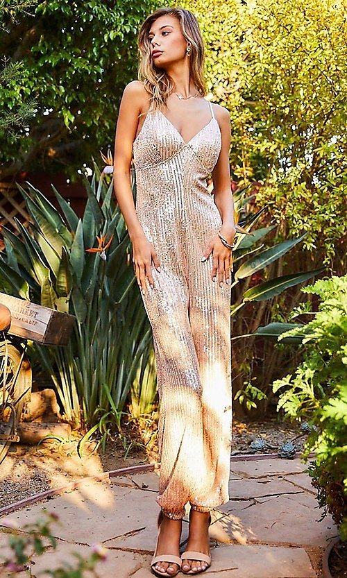 Image of formal sequin pink champagne jumpsuit for prom. Style: LAS-MST-21-LR70808 Detail Image 3