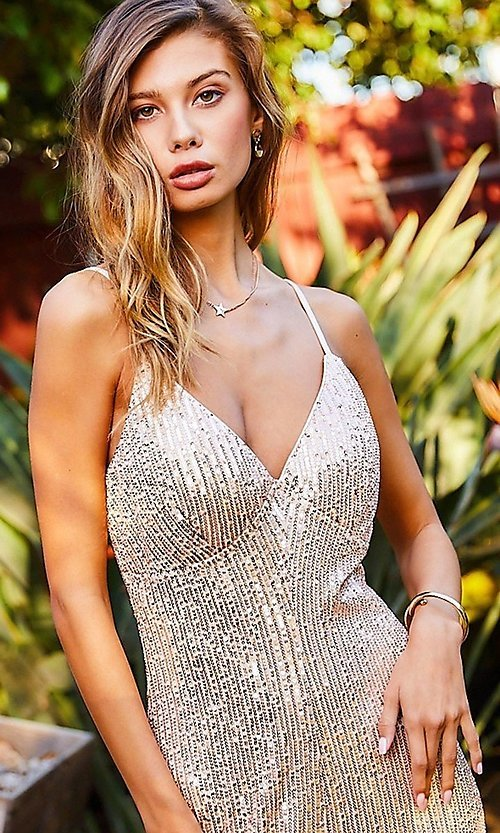 Image of formal sequin pink champagne jumpsuit for prom. Style: LAS-MST-21-LR70808 Detail Image 4