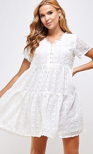 Boho Short Sleeve Casual Short Party Dress