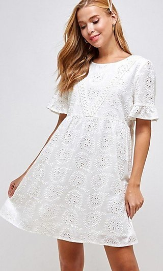 Eyelet White Short Casual Dress with Short Sleeves