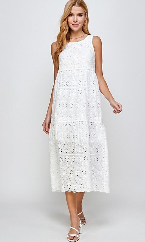 Image of 100% cotton eyelet white casual midi dress. Style: LAS-SOL-21-S-23715 Front Image