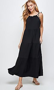 Image of shoulder-tie casual maxi dress with tiered skirt. Style: LAS-SOL-21-S-23733R Detail Image 4