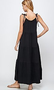 Image of shoulder-tie casual maxi dress with tiered skirt. Style: LAS-SOL-21-S-23733R Back Image