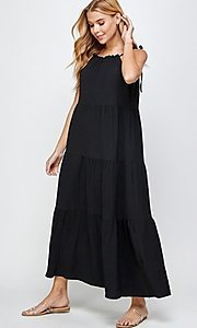 Image of shoulder-tie casual maxi dress with tiered skirt. Style: LAS-SOL-21-S-23733R Detail Image 1